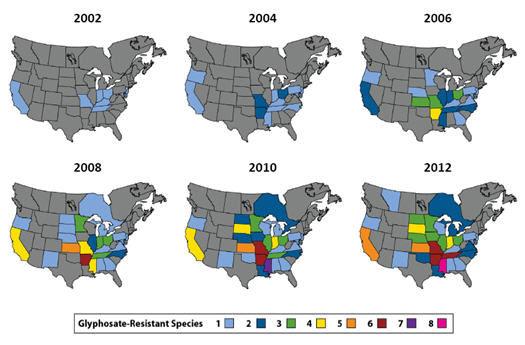 Confirmed glyphosate-resistant weed populations in North America, 2002-2012.